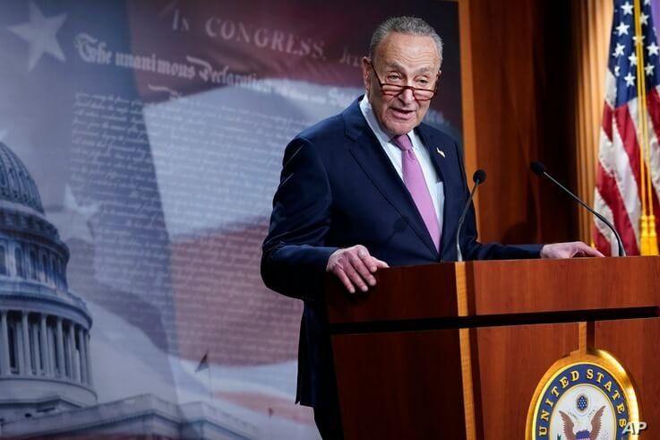 Senate Minority Leader Sen. Chuck Schumer of N.Y., speaks on Capitol Hill in Washington, Tuesday, Dec. 1, 2020. (AP Photo/Susan…