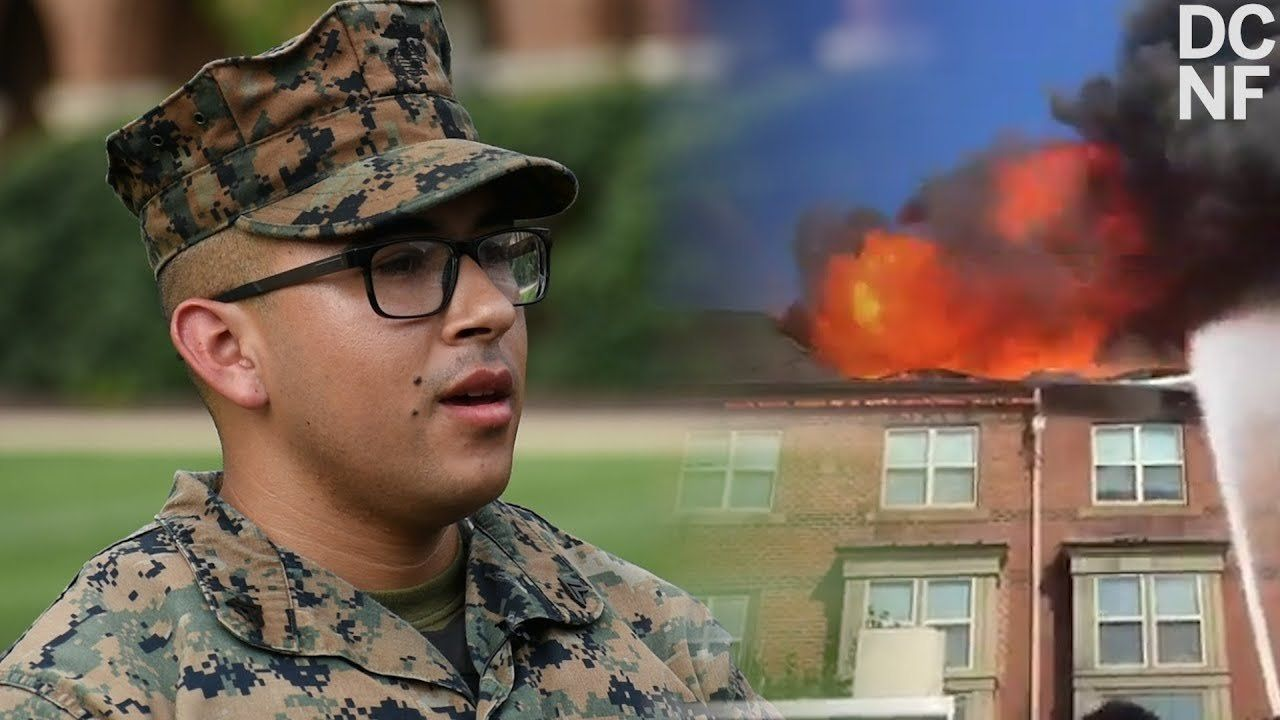 Marines Run From Barracks To Carry Elderly From Burning Building