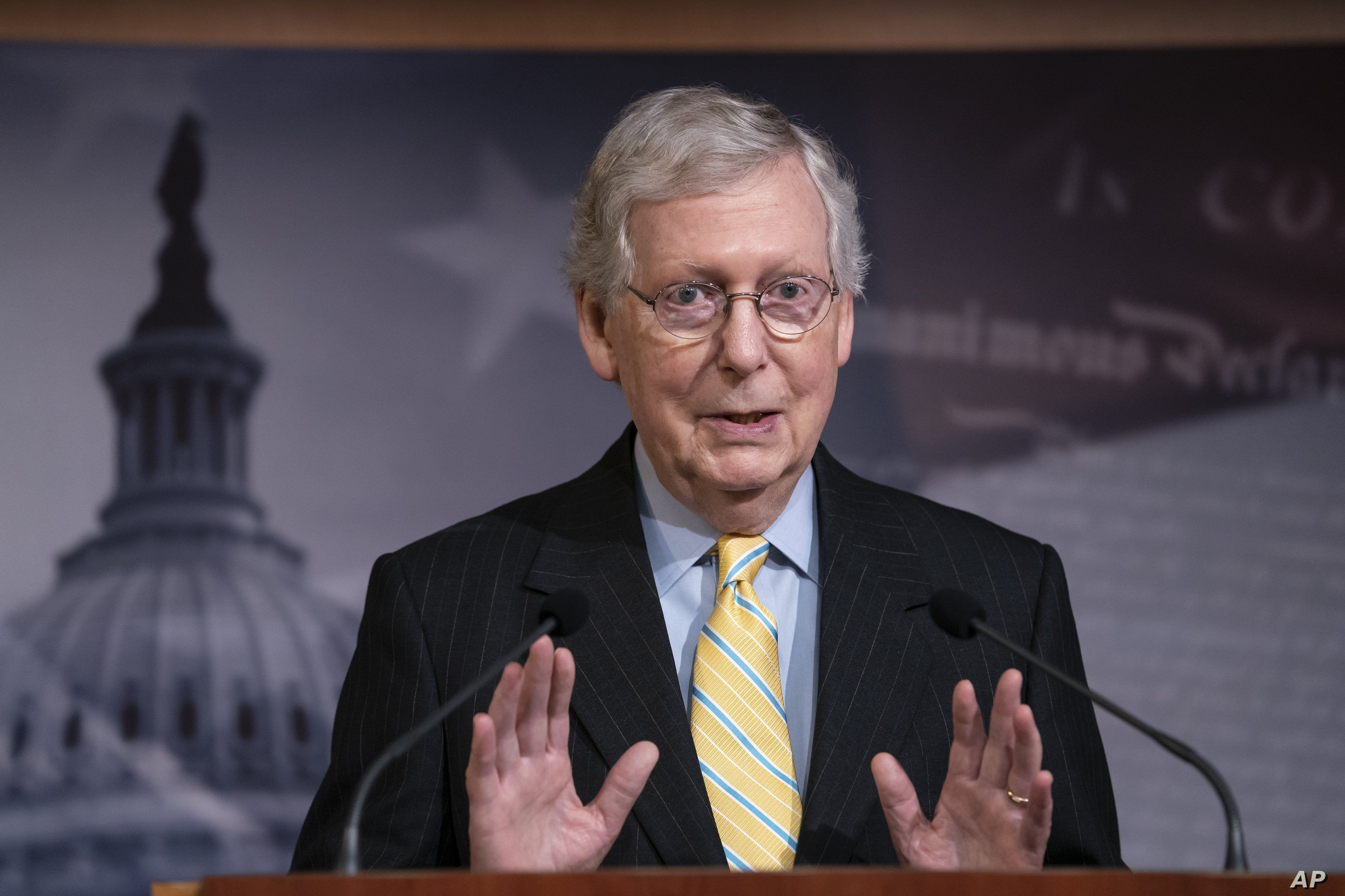 Senate Majority Leader Mitch McConnell, R-Ky., holds a news conference ahead of the Fourth of July break, at the Capitol in Washington, Thursday, June 27, 2019. House Speaker Nancy Pelosi says the House will