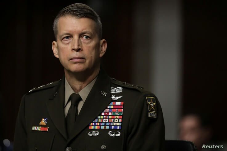 U.S. Army Lieutenant General Daniel R. Hokanson testifies before the Senate Armed Services Committee during his confirmation…