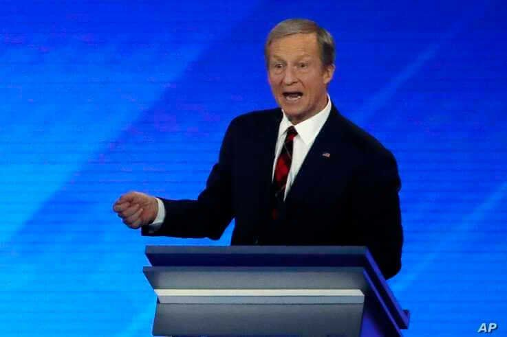 businessman Tom Steyer speaks during a Democratic presidential primary debate, Friday, Feb. 7, 2020, hosted by ABC News, Apple…