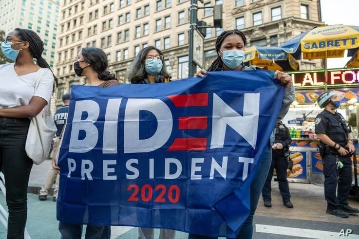 Supporters of former Vice President Joe Biden at a rally in New York City, Oct. 24, 2020.