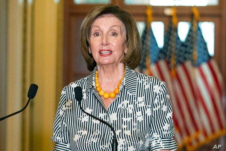 House Speaker Nancy Pelosi of Calif., speaks as she welcomes Israeli President Reuven Rivlin to the U.S. Capitol in Washington,…