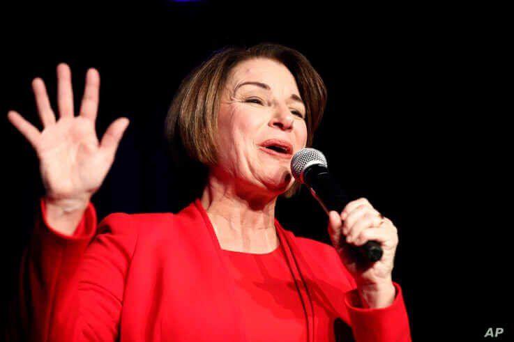 Democratic presidential candidate Sen. Amy Klobuchar, D-Minn., speaks at the Clark County Democratic Party