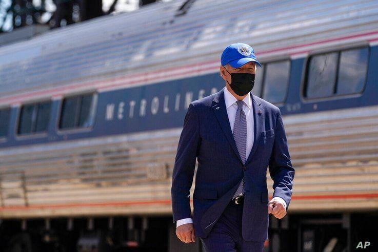 President Joe Biden arrives to speak at an event to mark Amtrak's 50th anniversary at 30th Street Station in Philadelphia, Friday, April 30, 2021. (AP Photo/Patrick Semansky)