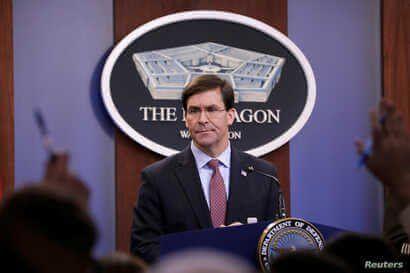 U.S. Defense Secretary Mark Esper speaks during a press briefing at Pentagon in Arlington, Virginia, U.S., December 20, 2019…