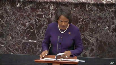 In this image from video, House impeachment manager Rep. Val Demings, D-Fla., speaks during closing arguments in the…