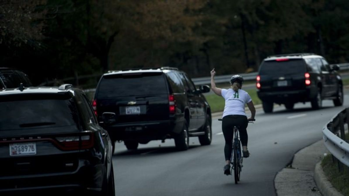 Cyclist Who Flipped Off Trump's Motorcade Runs for Office