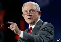 FILE - U.S. Attorney General Jeff Sessions makes a point during his speech at the Western Conservative Summit, June 8, 2018, in Denver.