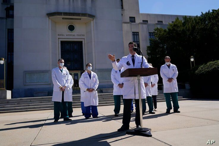 Dr. Sean Conley, physician to President Donald Trump, briefs reporters at Walter Reed National Military Medical Center in Bethesda, Maryland, Oct. 3, 2020. Trump was admitted to the hospital after contracting the coronavirus.