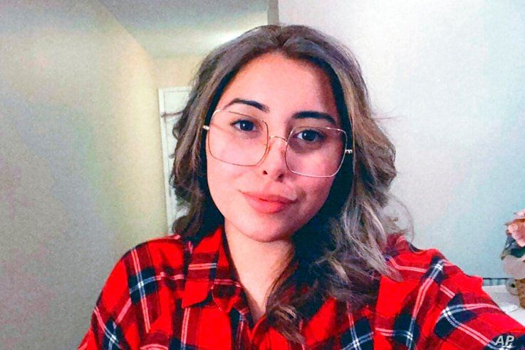 In this photo provided by Naihla De Jesus, De Jesus poses for a selfie in her Santa Clara County, California, home, Wednesday,…