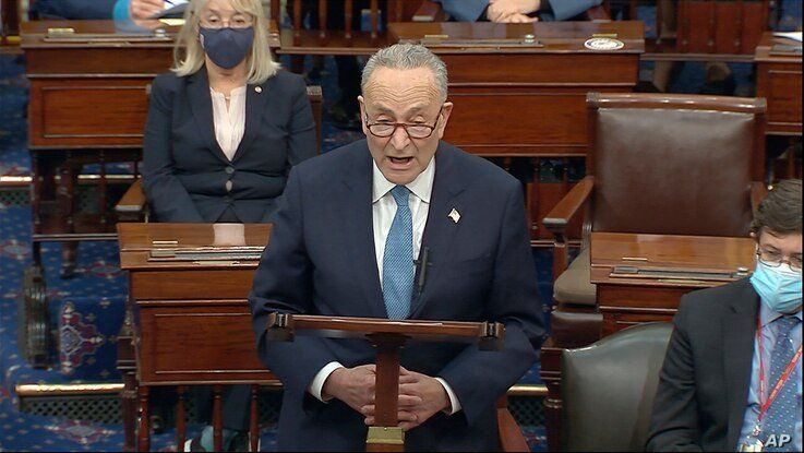 In this image from video, Senate Minority Leader Chuck Schumer of N.Y., speaks as the Senate reconvenes after protesters…