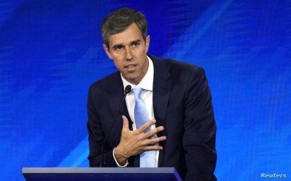 Former Rep. Beto O'Rourke delivers his closing statement at the end of the 2020 Democratic U.S. presidential debate in Houston, Texas, U.S. September 12, 2019. REUTERS/Mike Blake