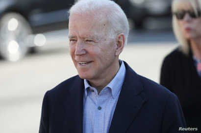 FILE PHOTO: U.S. Democratic presidential candidate and former Vice President Joe Biden arrives to speak to McDonald's cooks and…