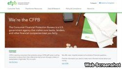 A portion of the home page of the Consumer Financial Protection Bureau.