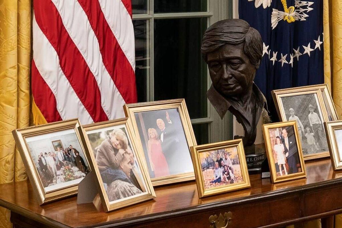 Cesar Chavez's Son Happy Dad's Bust is in Biden Oval Office