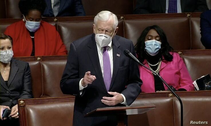 U.S. House Majority Leader Steny Hoyer (D-MD) speaks during debate ahead of a House of Representatives vote on impeachment.