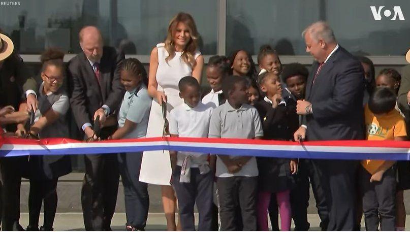 First Lady Melania Trump Cuts Ribbon at Washington Monument