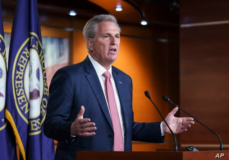 House Minority Leader Kevin McCarthy, R-Calif., criticizes Democrats on immigration policy during his weekly news conference at…