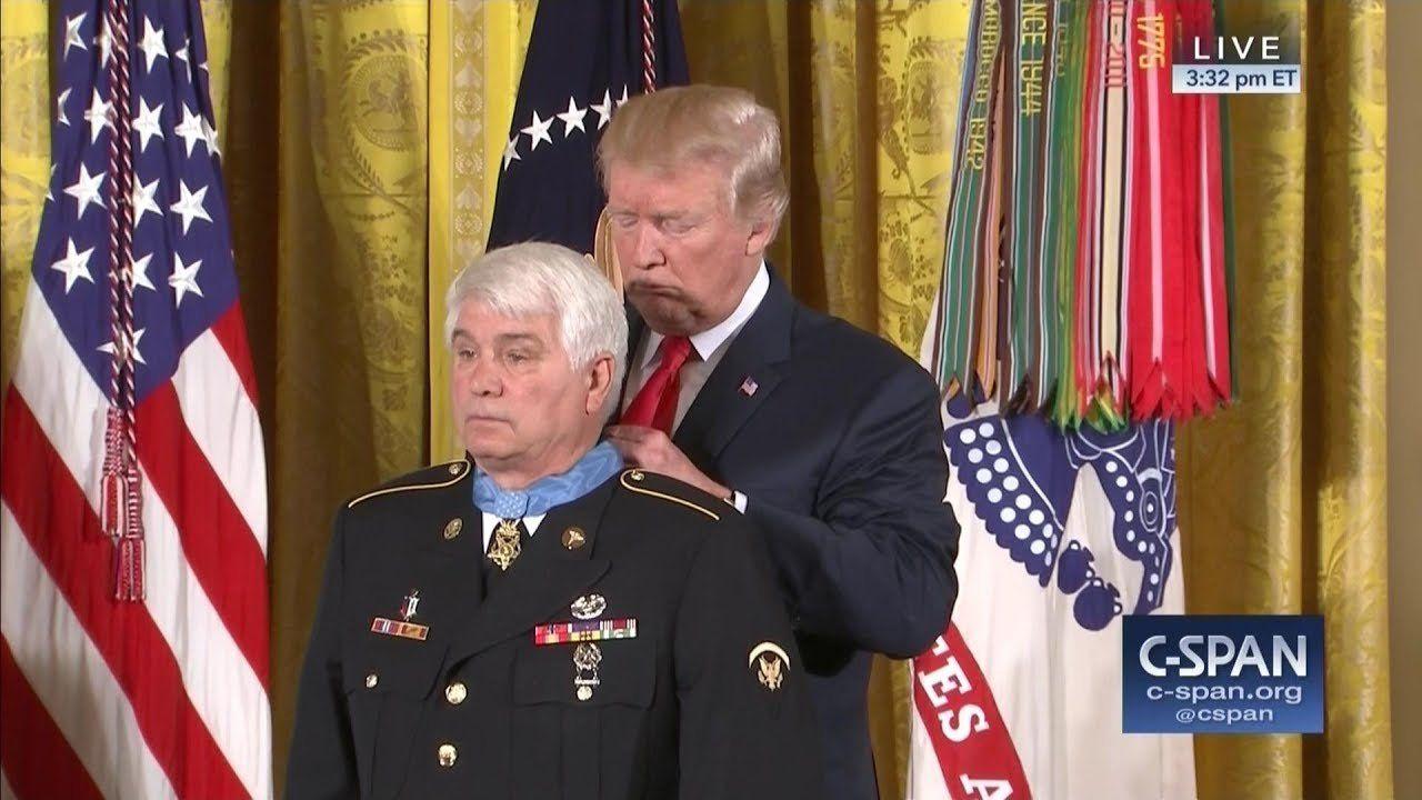 U.S. Army veteran James McCloughan receives Medal of Honor from President Trump (C-SPAN)