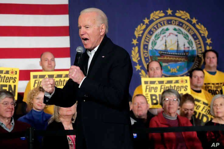 Democratic presidential candidate Joe Biden speaks at a campaign event in Somersworth, New Hampshire, Feb. 5, 2020.