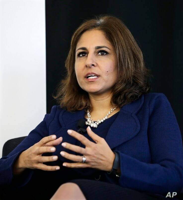 FILE - Neera Tanden, president of Center for American Progress, speaks during an introduction for New Start New Jersey at NJIT in Newark, Nov. 10, 2014.