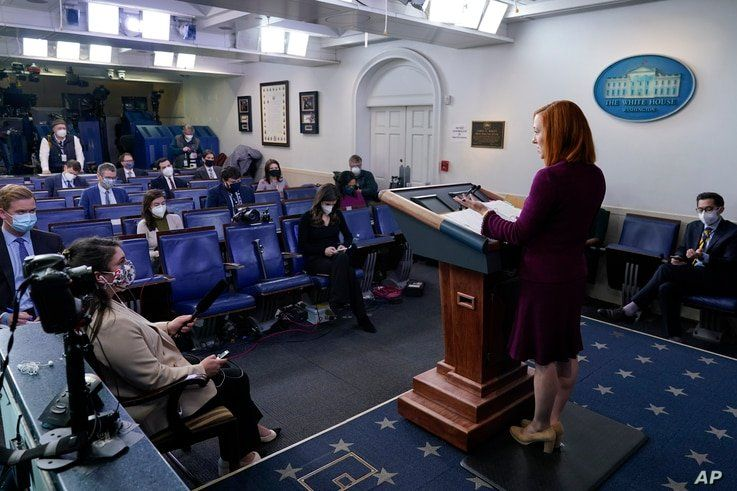 White House press secretary Jen Psaki speaks during a press briefing at the White House, Tuesday, Feb. 9, 2021, in Washington. …