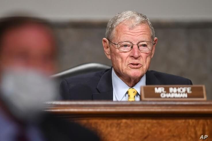 Senate Armed Services Chairman James Inhofe, R-Okla, questions Kenneth Braithwaite, nominated to be Secretary of the Navy, Gen…