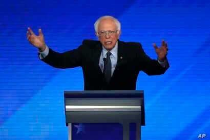 Democratic presidential candidate Bernie Sanders speaks during a Democratic presidential primary debate at Saint Anselm College in Manchester, New Hampshire, Feb. 7, 2020.