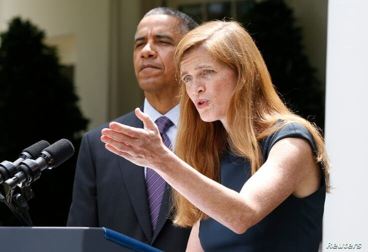 Samantha Power (R), nominated to be the new U.S. Ambassador to the United Nations speaks about her appointment after U.S…