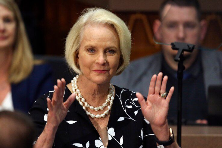 FILE - In this Jan. 13, 2020, file photo Cindy McCain, wife of former Arizona Sen. John McCain, waves to the crowd after being…