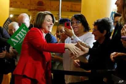 Democratic presidential candidate Sen. Amy Klobuchar, D-Minn., greets supporters during a rally Saturday, Feb. 29, 2020, in…