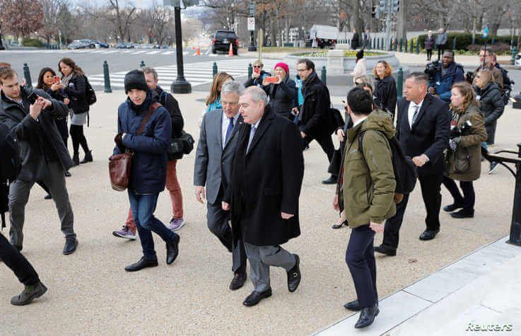 Lev Parnas, the indicted associate of U.S. President Donald Trump's personal lawyer Rudy Giuliani, talks to his attorney Joseph…