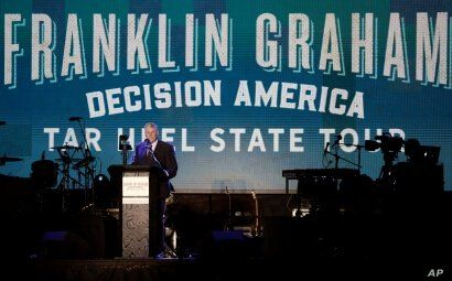 The Rev. Franklin Graham speaks at his Decision America event at the Pitt County Fairgrounds in Greenville, N.C. on Wednesday,…