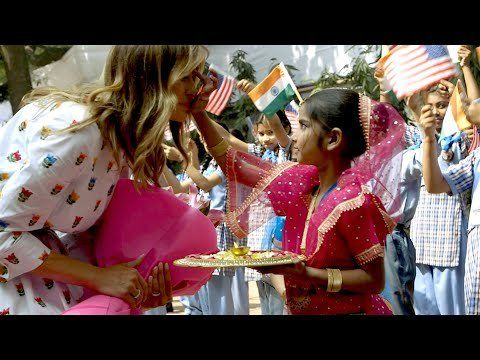 First Lady Melania Trump Visits the Sarvodaya School in New Delhi, India