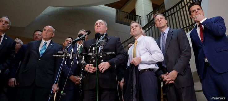 House Minority Whip Steve Scalise (R-LA) with other Republican congressmen speaks to the media outside a secure area as Deputy…