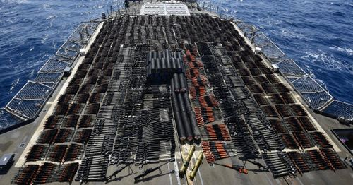 U.S. Navy seizes thousands of weapons discovered aboard a ship in the North Arabian Sea