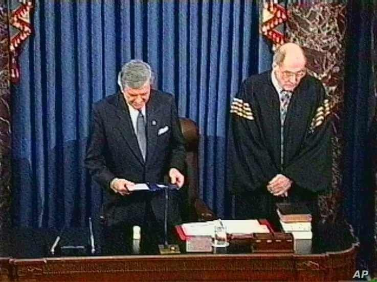 Senate chaplain Rev. Lloyd Ogilvie, shown in this video image, gives the final prayer of the impeachment trial and offers…