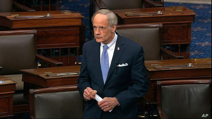 In this image from video, Sen. Tom Carper, D-Del., speaks on the Senate floor at the U.S. Capitol in Washington, Wednesday,…