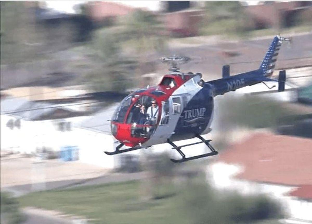'Trump 2020' helicopter hovers over Bernie Sanders rally in Phoenix