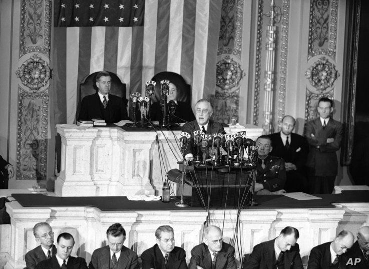 FILE - This Jan. 7, 1943, photo shows President Franklin D. Roosevelt giving his annual message to Congress on Capitol Hill in Washington.