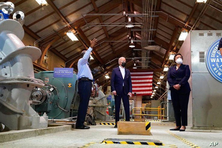 President Joe Biden tours a pumping room at the Sewerage & Water Board's Carrollton water plant, Thursday, May 6, 2021, in New…