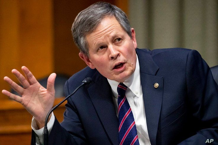 Sen. Steve Daines, R-Mont., speaks during a Senate Finance Committee hearing on the nomination of Xavier Becerra to be…