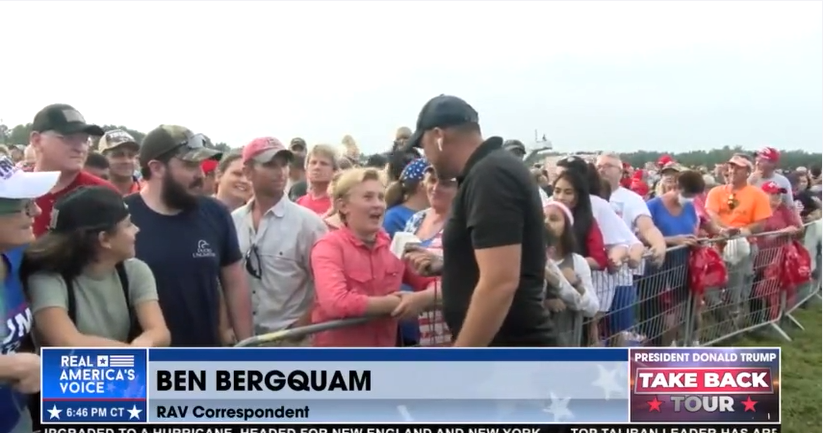 Ben Bergquam ask Trump rally attendees why they are here
