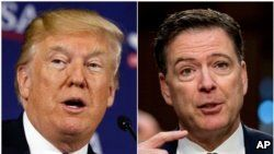 FILE - A combination photo shows President Donald Trump (L) during a discussion in White Sulphur Springs, W.Va., April 5, 2018, and former FBI director James Comey during a Senate Intelligence Committee hearing on Capitol Hill, Washington,June 8, 2017.
