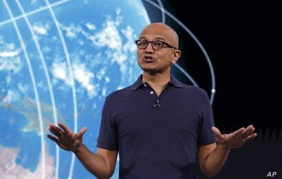 Microsoft CEO Satya Nadella delivers the keynote address at Build, the company's annual conference for software developers in Seattle, May 6, 2019.
