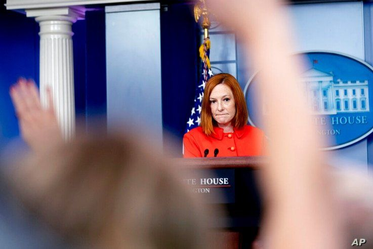 White House press secretary Jen Psaki takes a question from a reporter at a press briefing at the White House in Washington,…