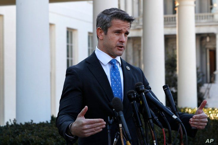 Rep. Adam Kinzinger, R-Ill., speaks to the media, Wednesday, March 6, 2019, at the White House in Washington. (AP Photo…