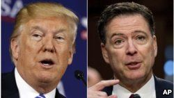 This combination photo shows President Donald Trump speaking during a roundtable discussion in White Sulphur Springs, W.Va., April 5, 2018, left, and former FBI director James Comey speaking during a Senate Intelligence Committee hearing on Capitol Hill in Washington, June 8, 2017.