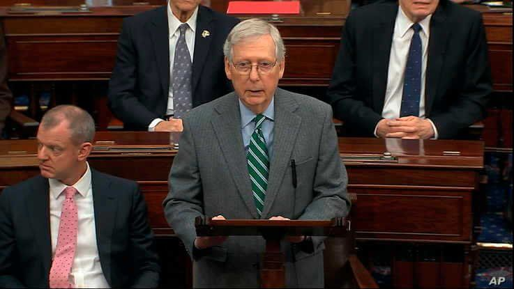 In this image from video, Senate Majorty Leader Mitch McConnell, R-Ky., speaks as the impeachment trial against President…
